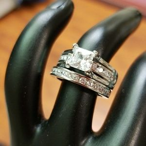 White Gold Filled CZ Ring, Stamped w/ S925, 2 in 1